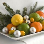 citrus and ornaments in a bowl is an easy and cheap way to make a kitchen more festive